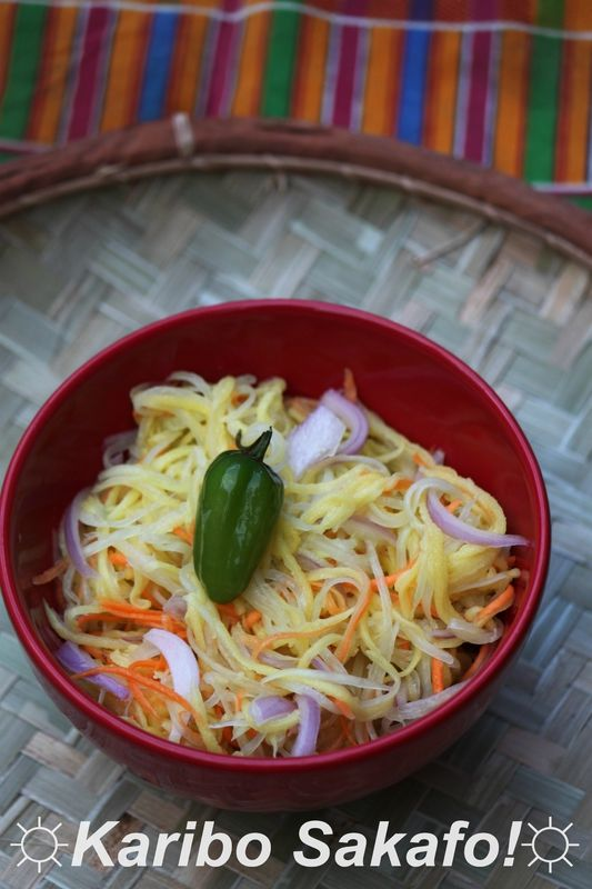 Rougail papaye verte, mangue verte et carotte, parfumé à la citronnelle