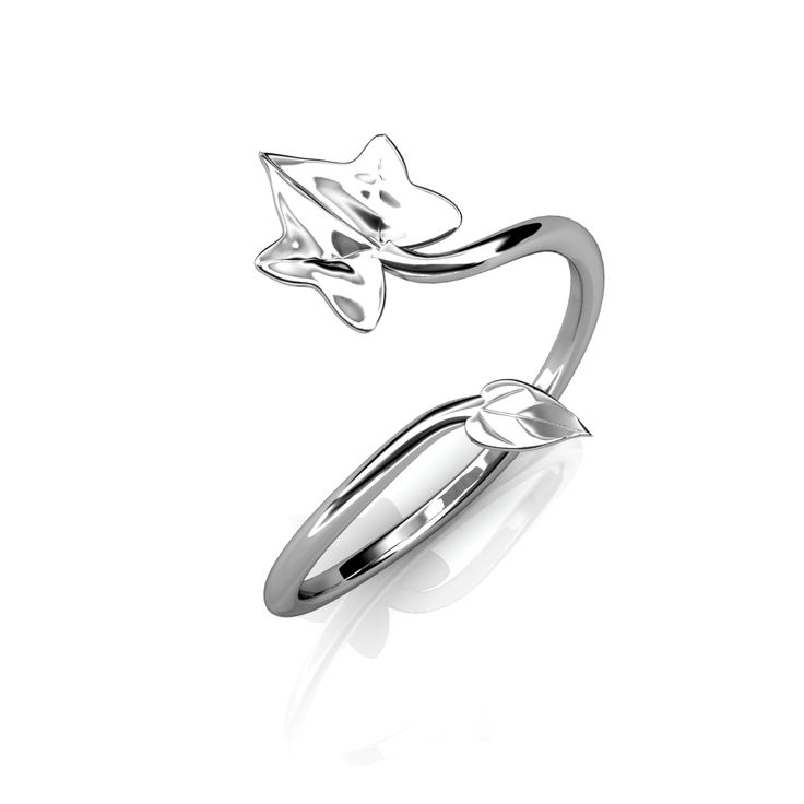 "Delicate ivy leaf wrap ring with two ivy leafs connected by a thin ring band ""vine"" that opens and closes to fit any finger."
