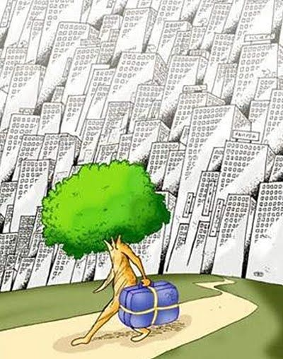 "¿Qué título darías a este dibujo? Deforestation - for houses, agriculture and factories to produce ""stuff"" for you and me."
