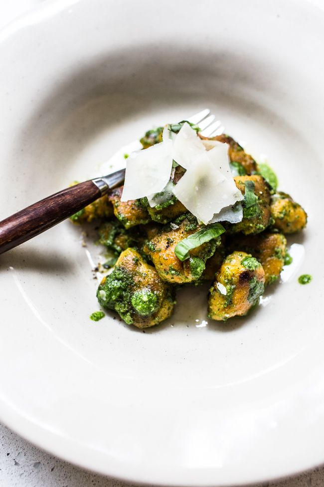 Sweet Potato Gnocchi with Wild Garlic and Sage Pesto by topwithcinnamon #Gnochi #Sweet_Potato #Sage