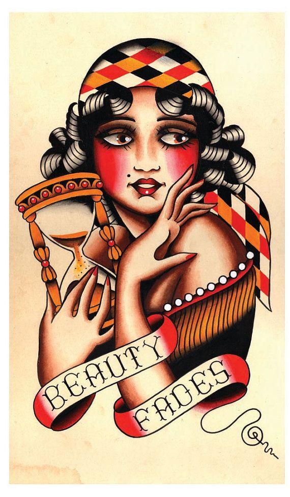 Vintage Beauty, Gypsy Flapper, Tattoo Flash Print on Etsy, €16,17