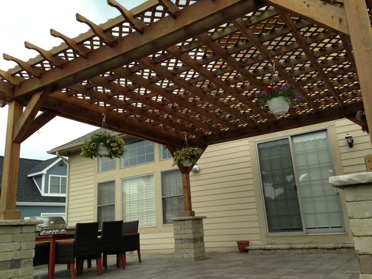 Custom Cedar Pergola With Lattice Roof Pergola Rustic