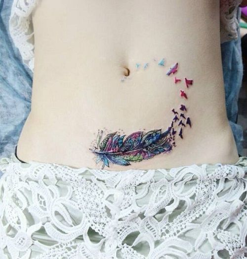 Colorful Feather Made of Bird Tattoo My tattoo O want!