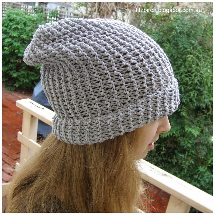 Knitting Hat Patterns For Beginners : Super simple slouch beanie knitting pattern perfect for