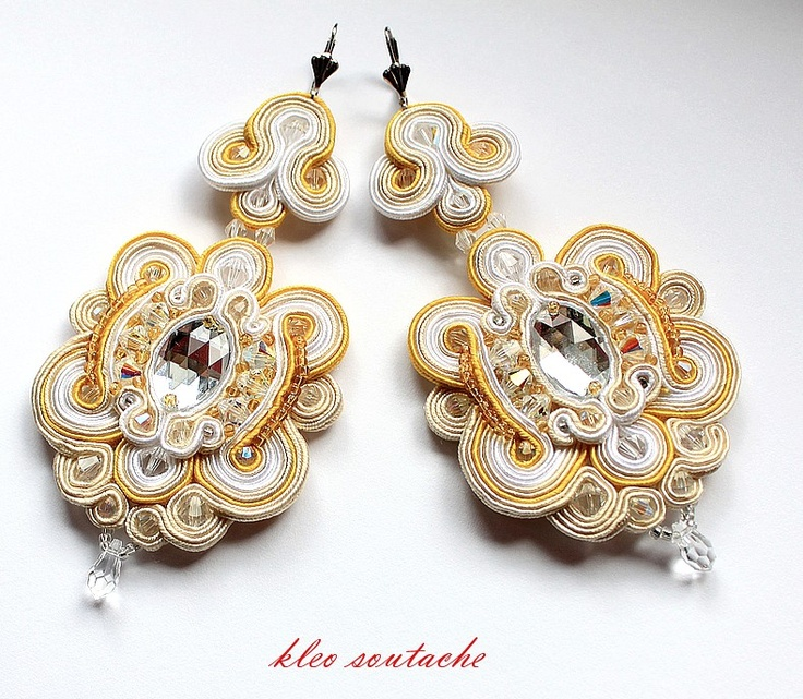 Sutasz Kleo /Soutache jewellery: Swarovski  Jus tthe second part for a broche or a pin.