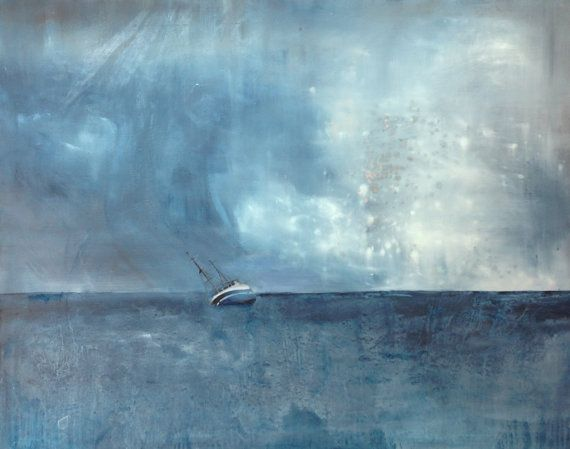 Blue - Original oil on canvas painting, this is not print - sea, ship, wave and a storm (abstract, minimalism, figurative) landscape