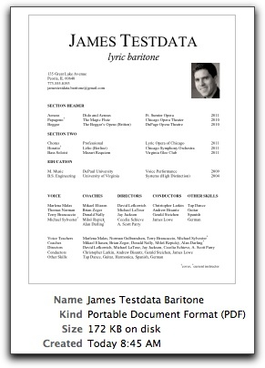 classical singer resume performance on actor