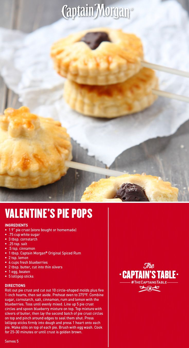 A Valentine's Day recipe that spreads the love! #Captain #Morgan #rum #pie #pops #easy #CaptainsTable