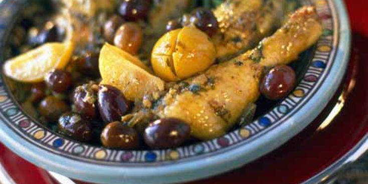 Poulet rôti aux citrons et olives