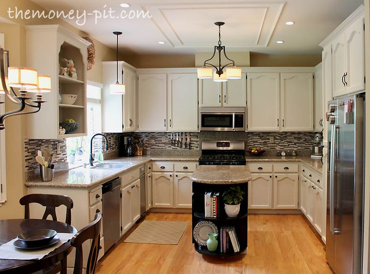 The Kim Six Fix: Kitchen Reveal: 80s to AWESOME! I love this redo...she did all the work herself!! You have to check out the before! Love the ceiling detail.: Kitchens, Kitchen Makeover, Kitchen Reveal, Awesome, Kitchen Update, Kim, Reveal 80S, Kitchen Ideas, Kitchen Remodel