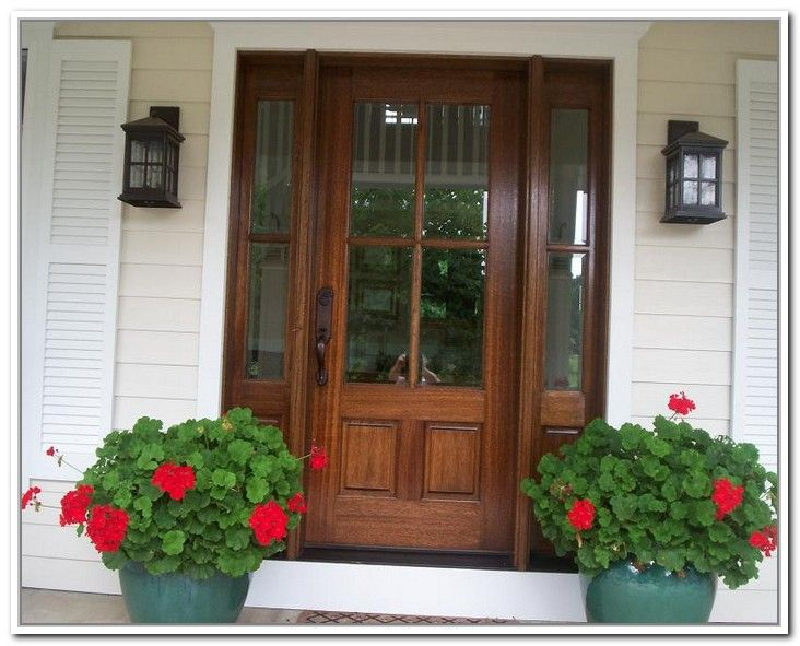 Wooden front doors with glass panels doors pinterest for Exterior front entry wood doors with glass
