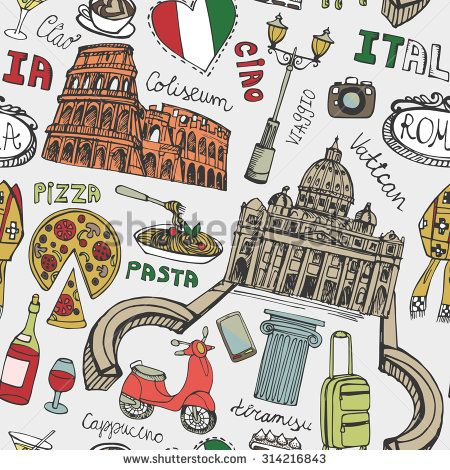 Italy famous Rome landmark seamless pattern.Vintage Hand drawn doodle art sketchy.Italian Rome,travel,hello.Coliseum,Vatican,food,pizza,icon symbols.Colored Vector background - stock vector
