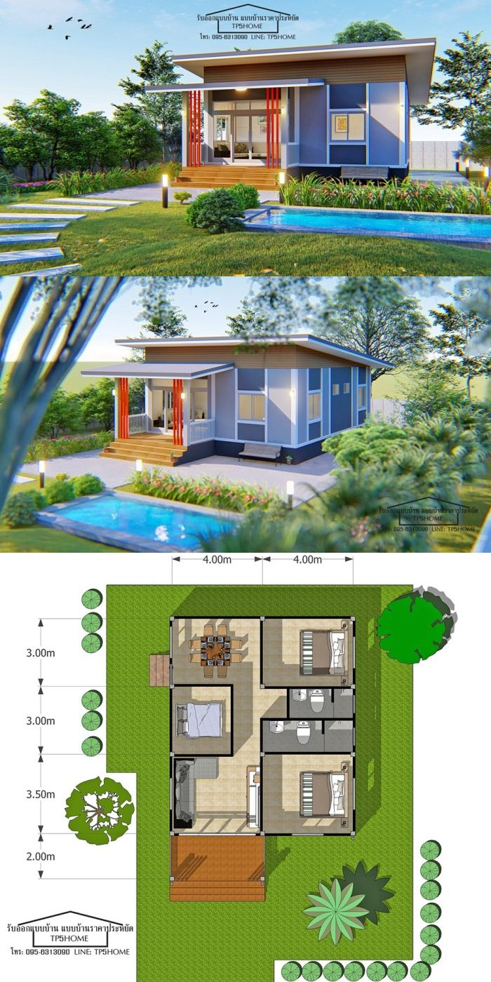 Bungalow Design For A 9 5 X 8 Meters Floor Area Simple House Design Modern Style House Plans House Designs Exterior