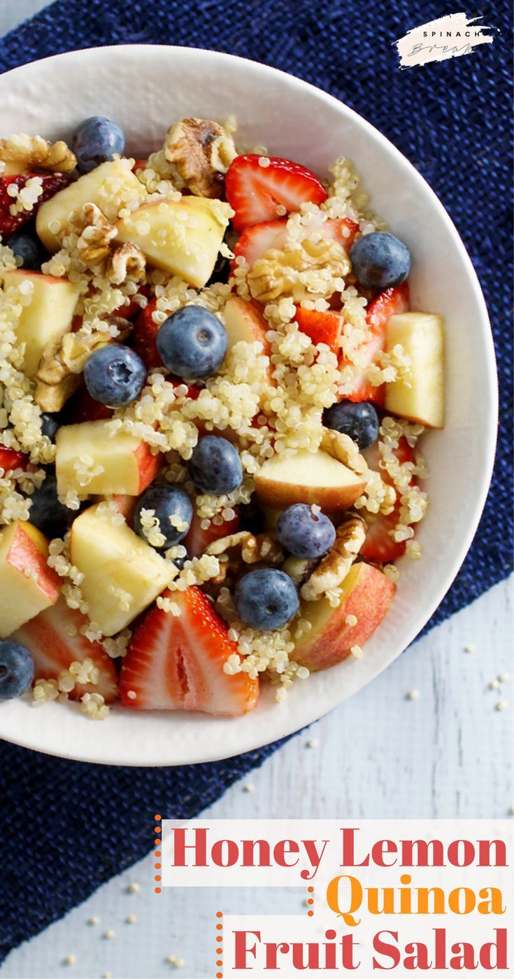 Honey Lemon Quinoa Fruit Salad -- the perfect healthy fruit salad twist! Great for breakfast, a side, or dessert! And, it just so happens to be red, white, and blue so why not bring it to a fourth of july party? It's so healthy and naturally gluten free, dairy, free, and vegan. Enjoy!