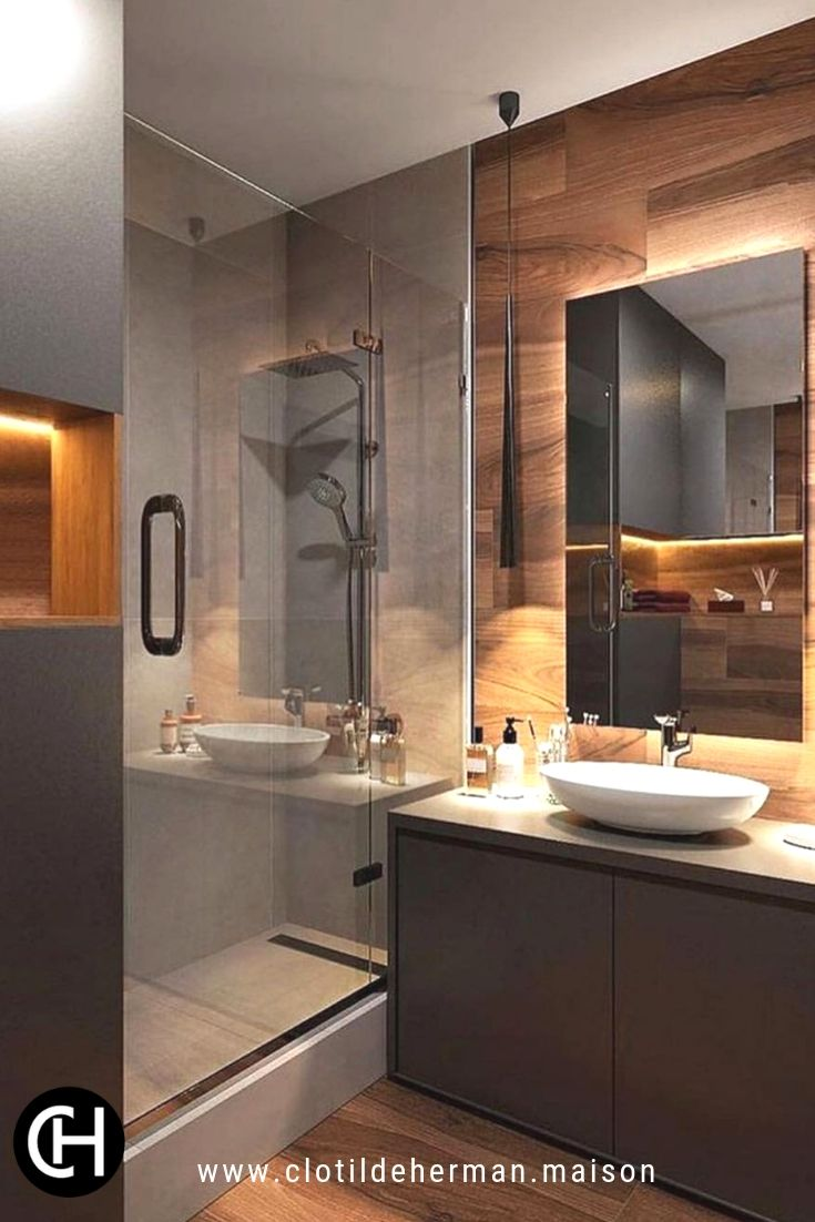 A bathroom design Alliance of materials imitating wood and furniture in b …