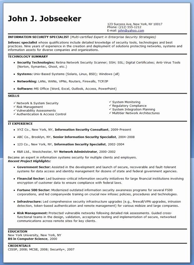Cyber Security Entry Level Resume Luxury Information Security Specialist Resume Sample Security Resume Sample Resume Download Resume