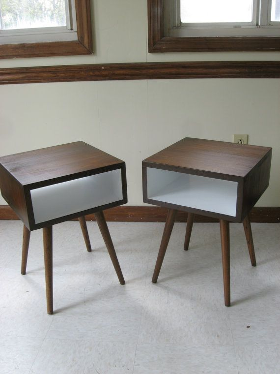 Mid Century Inspired Night Stands. SET OF TWO.  Painted Interior Solid Wood Side Table, Plant Stand, Small Space Modern Table on Etsy, $290.00