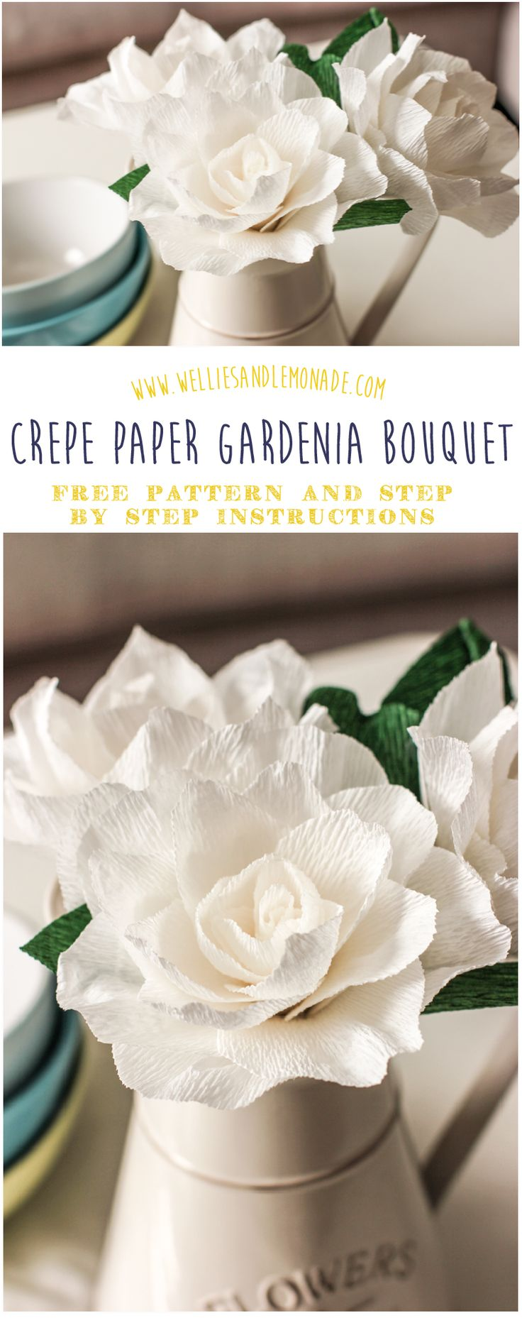 Learn how to make this beautiful crepe paper gardenia flower bouquet with my simple to follow step by step instructions. Click through to get your free pattern or pin now for later. Find more free flower patterns at http://www.welliesandlemonade.com