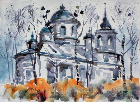 Русская церковь Акварельный этюд по пути из Нижнего Новгорода в Арзамас.