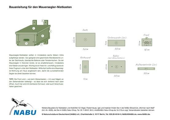 NABU Bauanleitung für einen Mauersegler-Nistkasten. Eine Mauersegler-Wohnung sollte bis Mitte April am Haus angebracht sein.