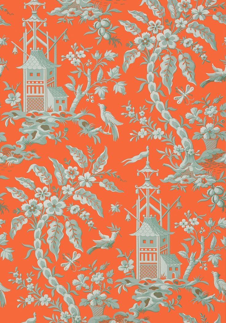 PAGODA GARDEN, Coral, T14205, Collection Imperial Garden from Thibaut