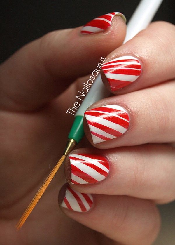 2013 Christmas candy cane nails, Christmas candy cane nails design in 2013, Bright Red Christmas nails design in 2013