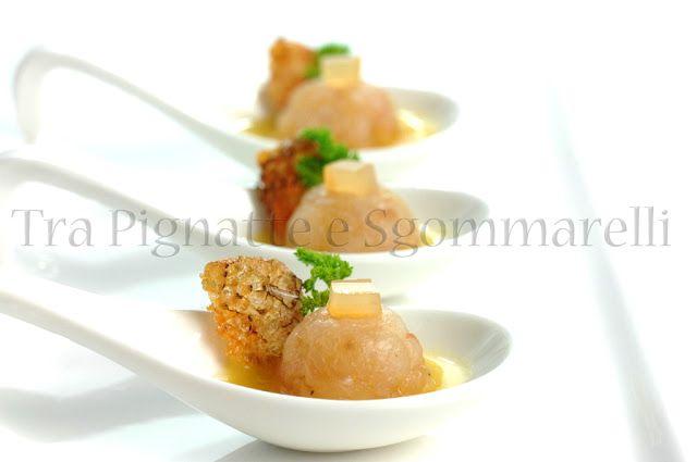 pesce scorfano con liquirizia, gelatina di mele, zenzero e pomodori datterini