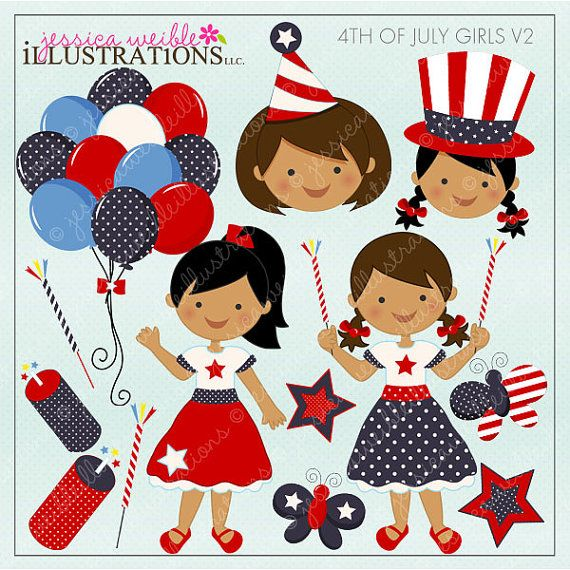 4th of July Girls V2 -Dark- Cute Digital Clipart for Invitations, Card Design, Scrapbooking, and Web Design, 4th of July Clipart