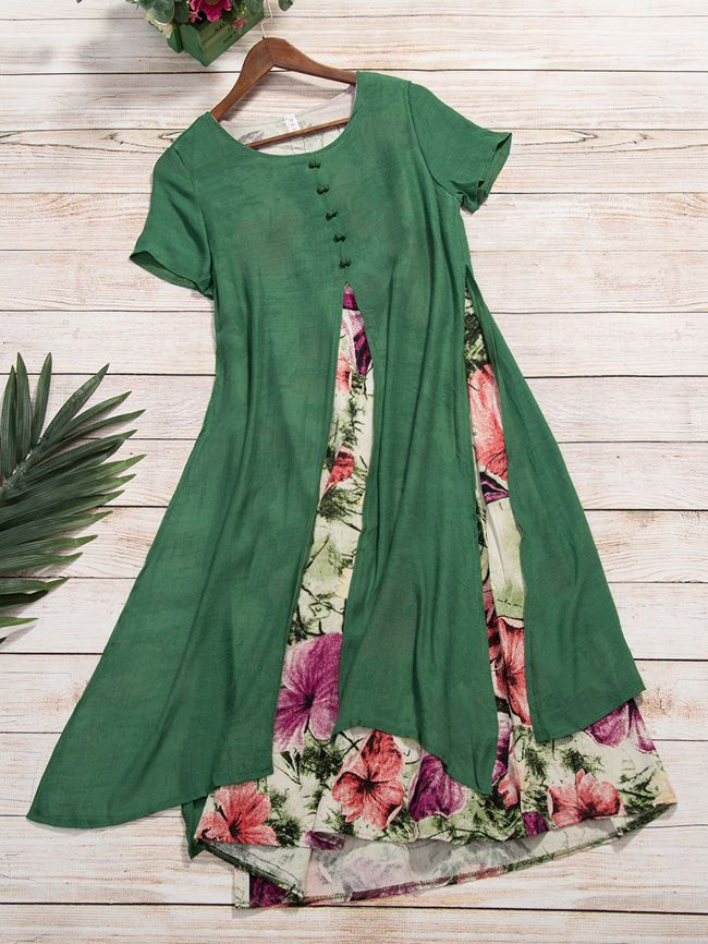 Buy Floral Printed Round Neck Fake Two-Piece Maxi Dress online with cheap prices and discover fashion Maxi Dresses at Fashionmia.com.