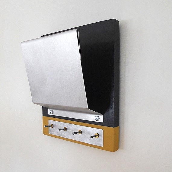 Steel mail holder modern industrial wall mounted key rack - Wall mounted letter holder and key rack ...