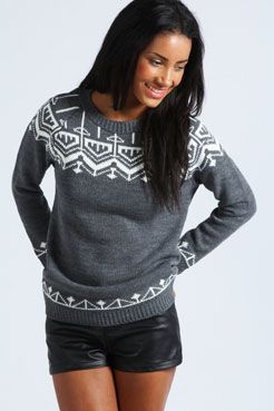 Sarah Aztec Yoke Jumper at boohoo.com