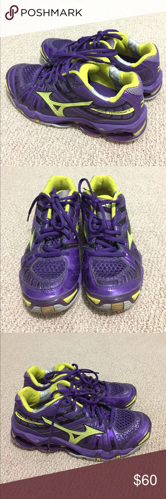 Lightly used Mizuno Wave Tornado VII size 8 Only worn a few times. Great condition! Mizuno indoor court shoes (volleyball, squash, badminton, ect). Purple/yellow. Dynamic fit model gives custom fit. Size 8 women US. Mizuno Shoes Athletic Shoes