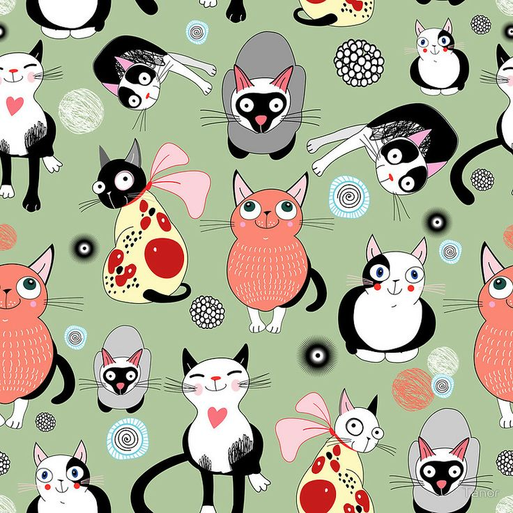FREE printable cat pattern tile   Tanor — Pattern with funny cats (800x800)