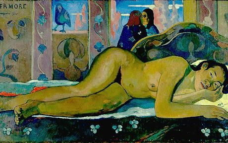 Nevermore, 1897 by Paul Gauguin, 2nd Tahiti period. Post-Impressionism. nude painting (nu). Courtauld Institute of Art, London, UK