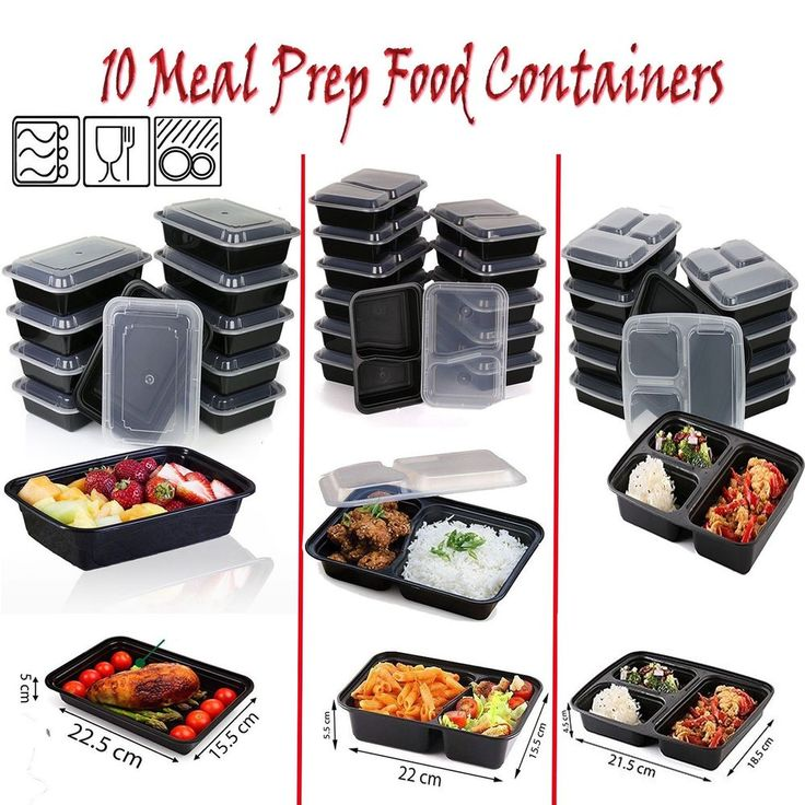 10 MEAL PREP FOOD CONTAINERS 1-3 COMPARTMENT PLASTIC LUNCH BOX + LIDS BPA FREE