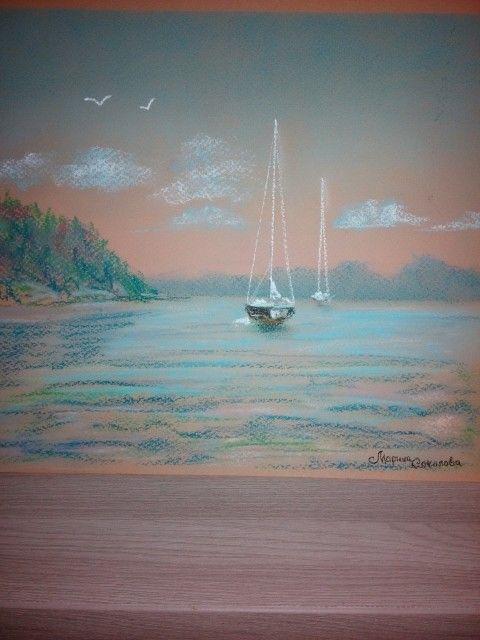 Морской пейзаж, пастель