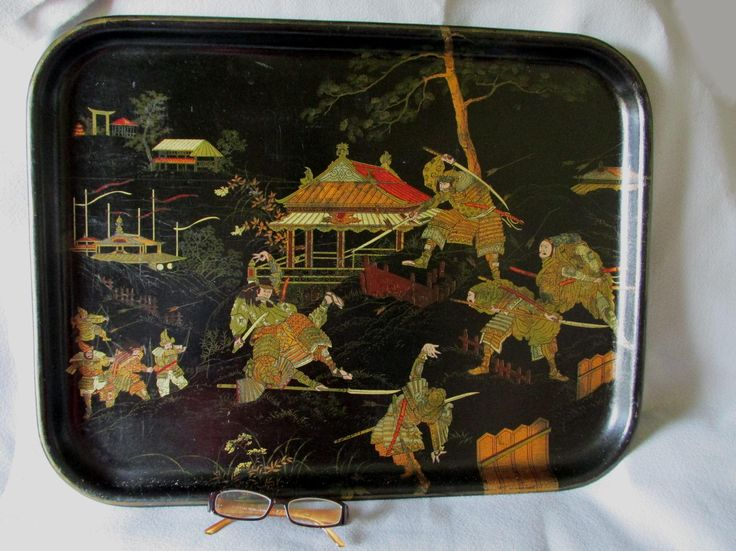 Antique 19thC Paper Mache Serving Tray with Asian Samurai Motif