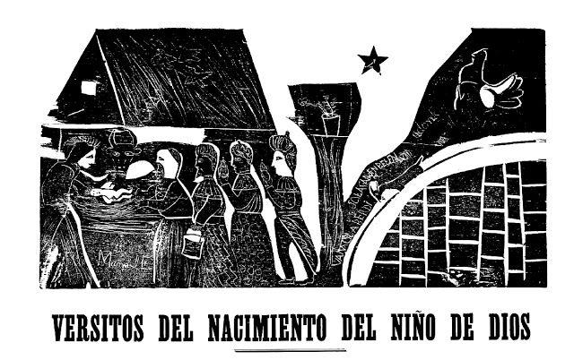 """Ilustración para """"Versitos del Nacimiento del Niño Dios"""" del """"pueta"""" popular José Hipólito Cordero. Lira Popular Chilena."""