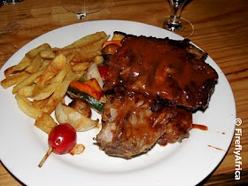 Red Wined and Rock Salted Ribs at Bain Street Grill, Port Elizabeth, South Africa