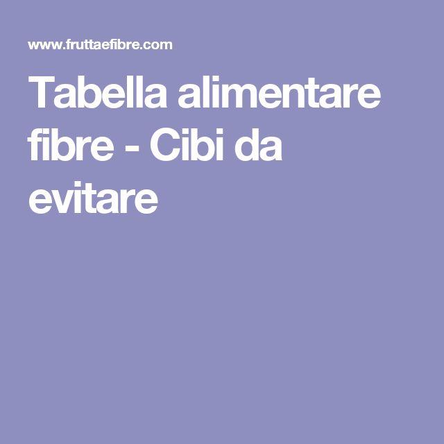 Tabella alimentare fibre - Cibi da evitare