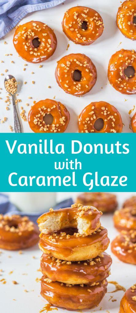Vanilla Donuts with Caramel Glaze Vanilla donuts fried in oil with caramel glaze #vanilladonuts #vanillacarameldonutsrecipe #frieddonuts