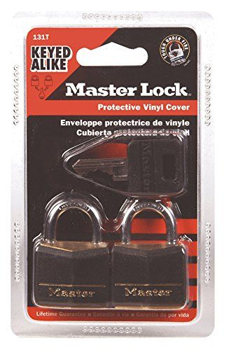 Master Lock 131T Solid Brass Keyed Alike Padlock, Black Cover, 3/16-inch Shackle, 2-Pack >>> Check this awesome product by going to the link at the image.