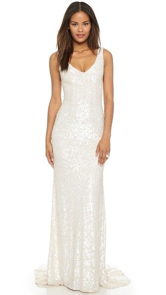 White sequin wedding gown by Theia