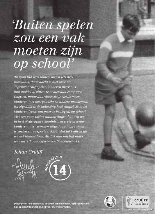 Blog - Johan Cruijff - schoolplein 14 - blijf met je handen van de juf af Johan!