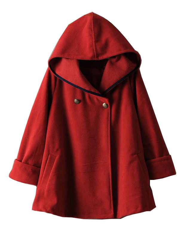 Red Hooded Long Sleeve Woolen Cape Coat - Fashion Clothing, Latest Street Fashion At Abaday.com: