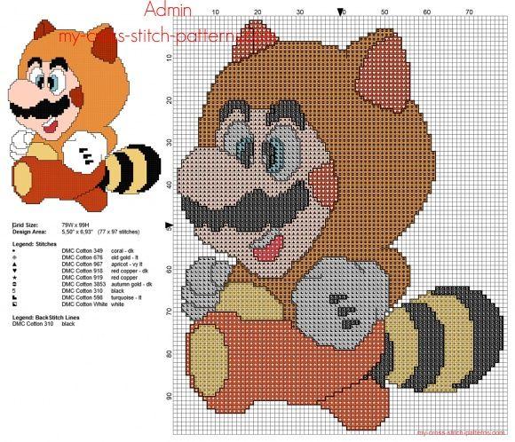 Super Mario Bros Tanooki patron punto de cruz 77 x 97 8 colores