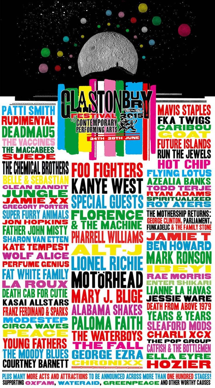 Glastonbury Festival 2015 line-up before the Foo Fighters Pulled Out