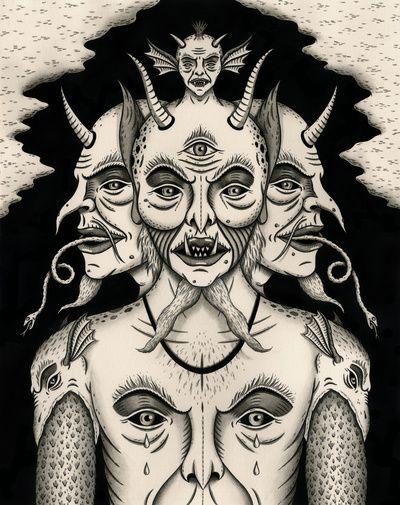 """Weeping Demon"" Art Print by Jon MacNair on Society6."