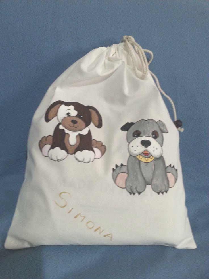 Sacchetto con i due cagnoi lini - pittura su stoffa