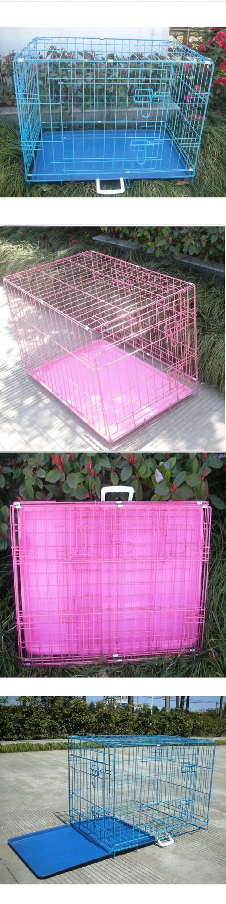 Cages and Crates 121851: Usa Pink Blue Black Folding Dog Crate Cage Kennel Two Door Abs Tray 24-48 BUY IT NOW ONLY: $32.99